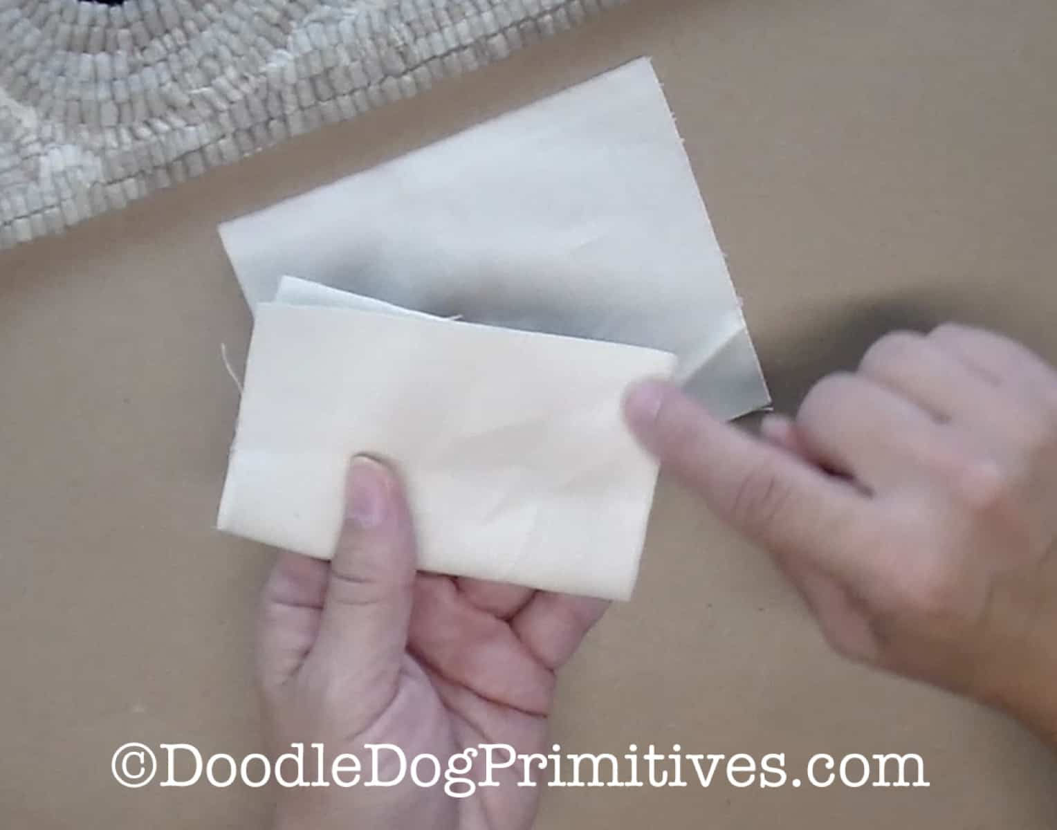 fold fabric rectangles in half
