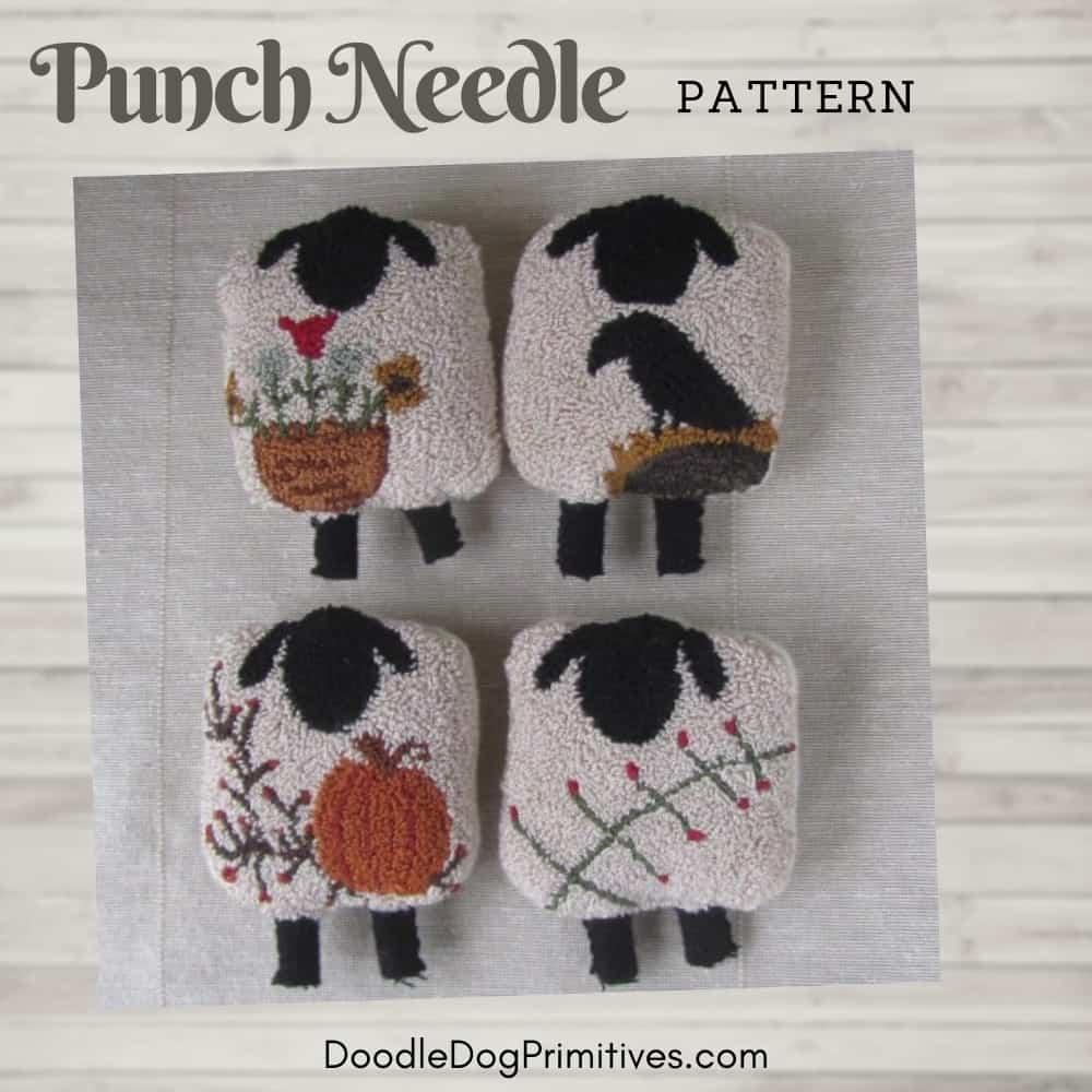 Four seasons of sheep punch needle pattern