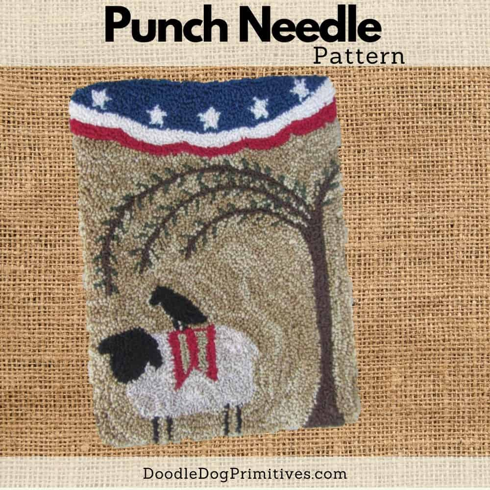 freedom sheep punch needle pattern