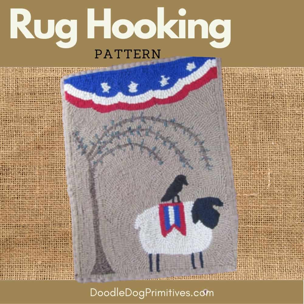freedom sheep hooked rug