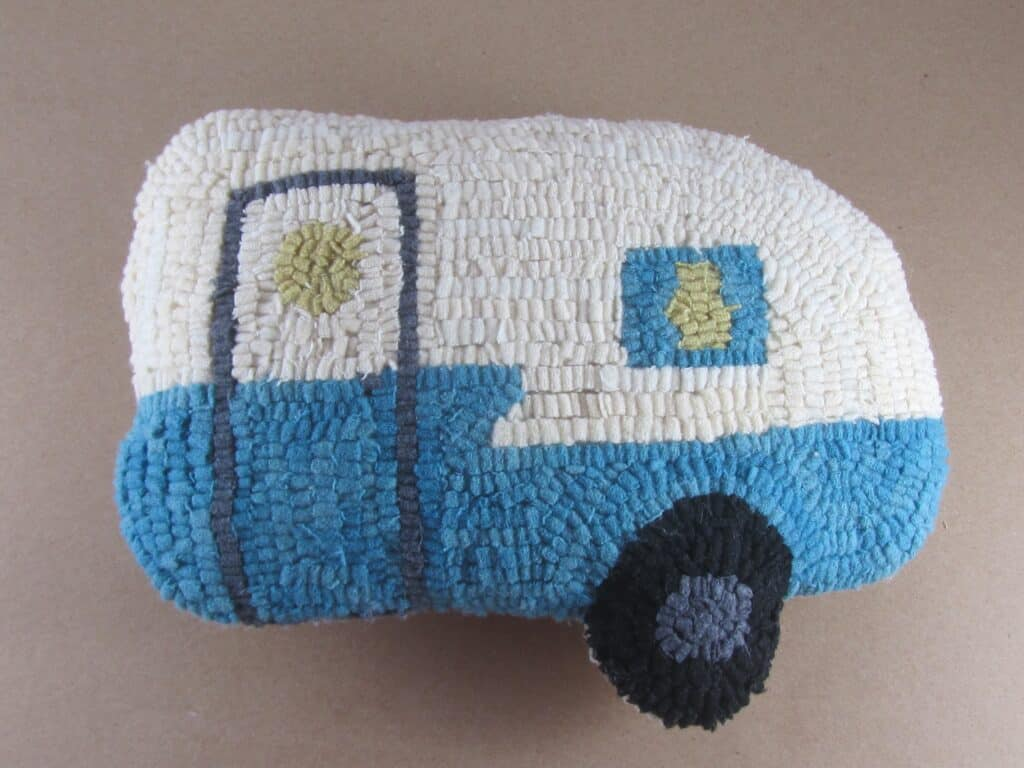 Hooked Rug Retro Camper Pillow