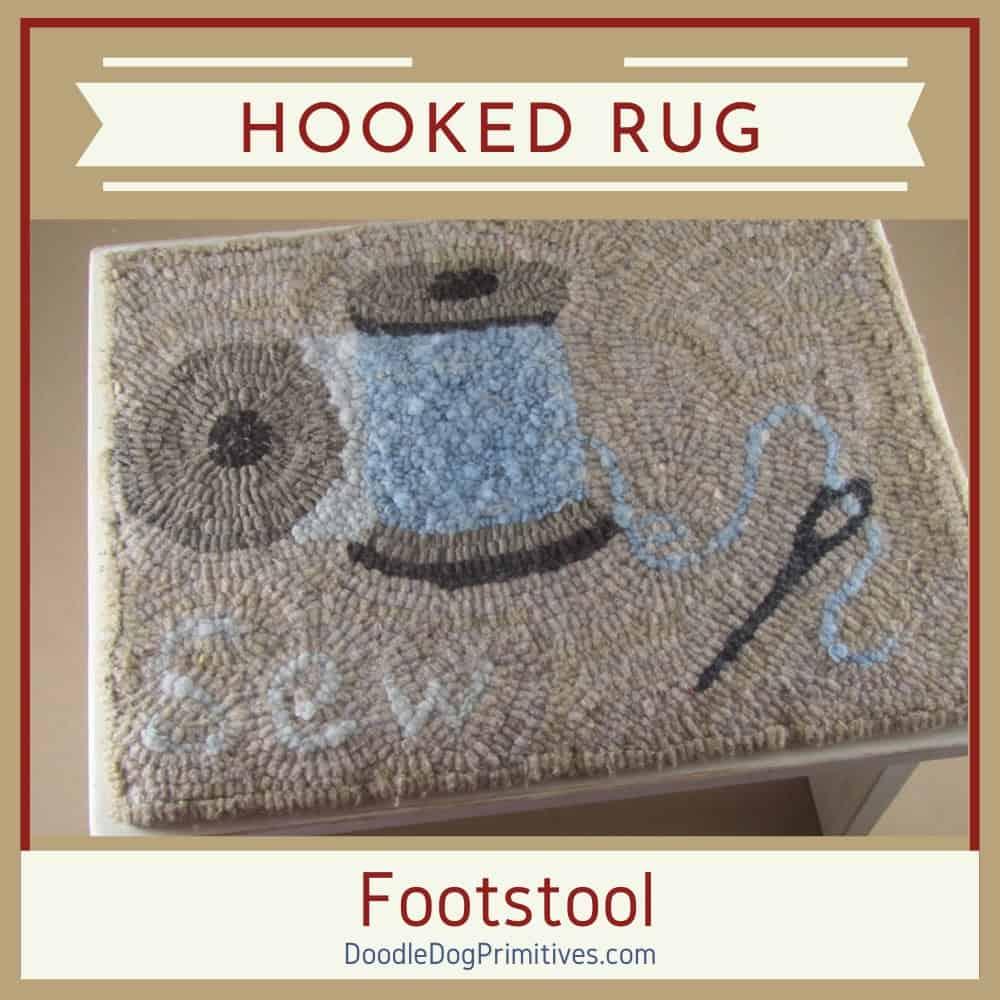 hooked rug footstool