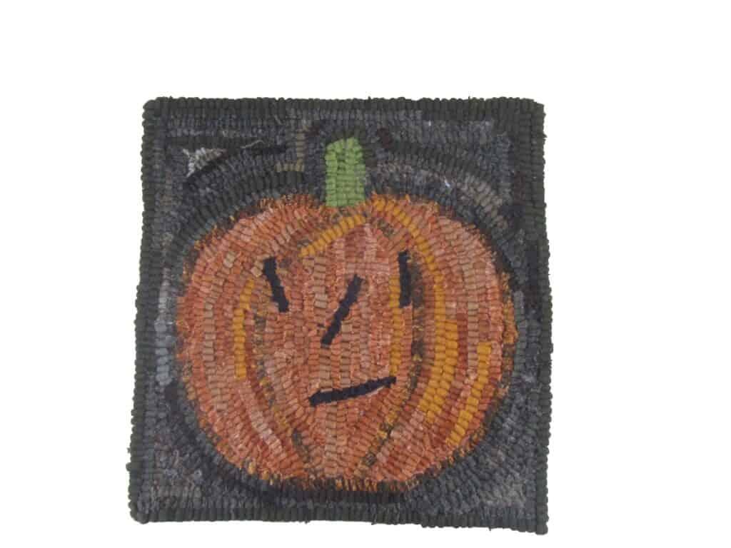 Jack-o-Lantern rug hooking pattern