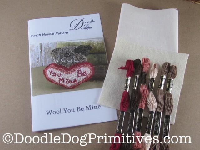 Punch needle kit for Valentine sheep