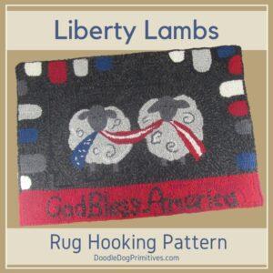 Patriotic Sheep Rug Hooking Pattern