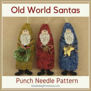 Santa Ornaments Punch Needle Pattern