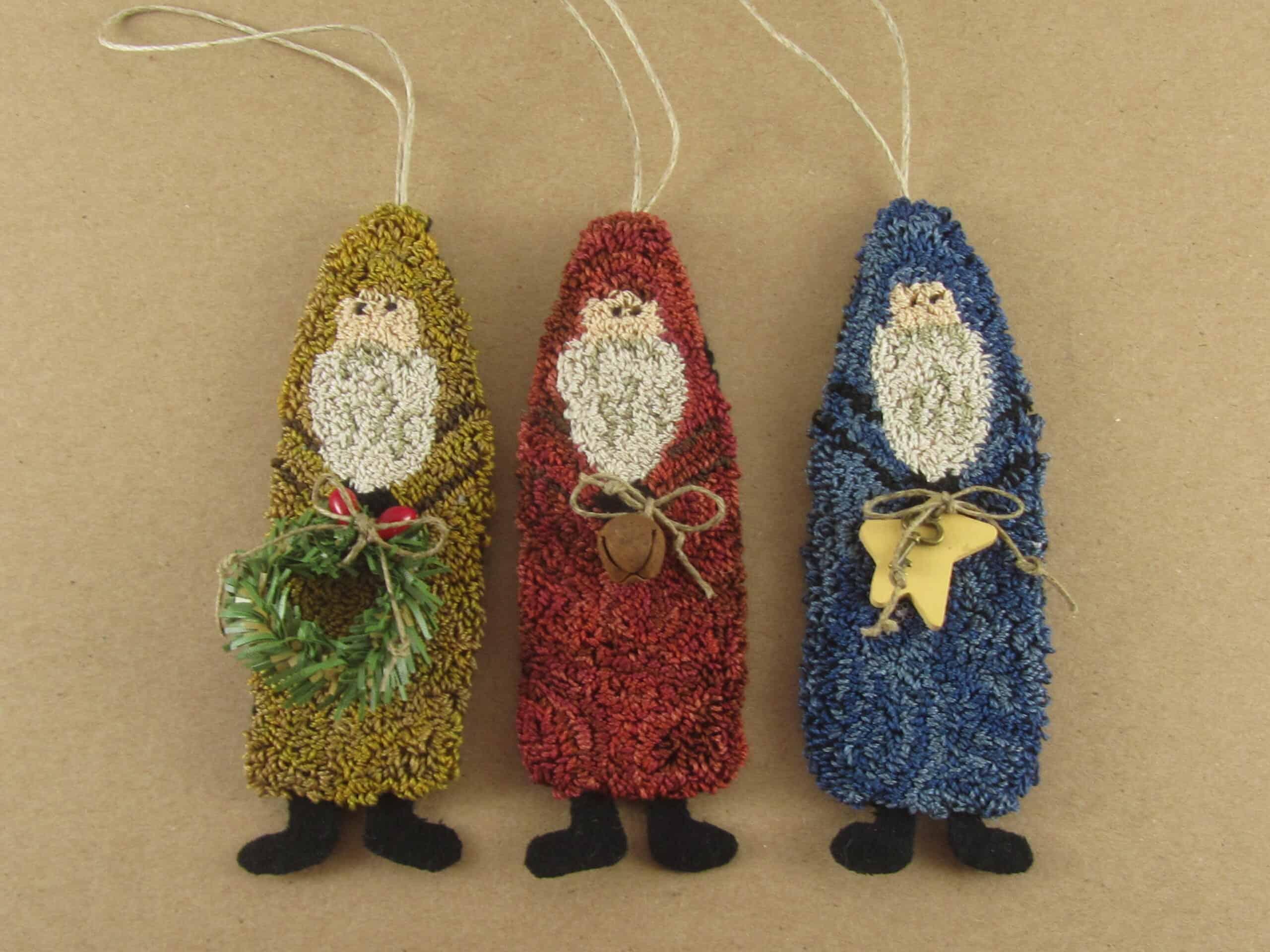 Primitive Santa Christmas ornaments