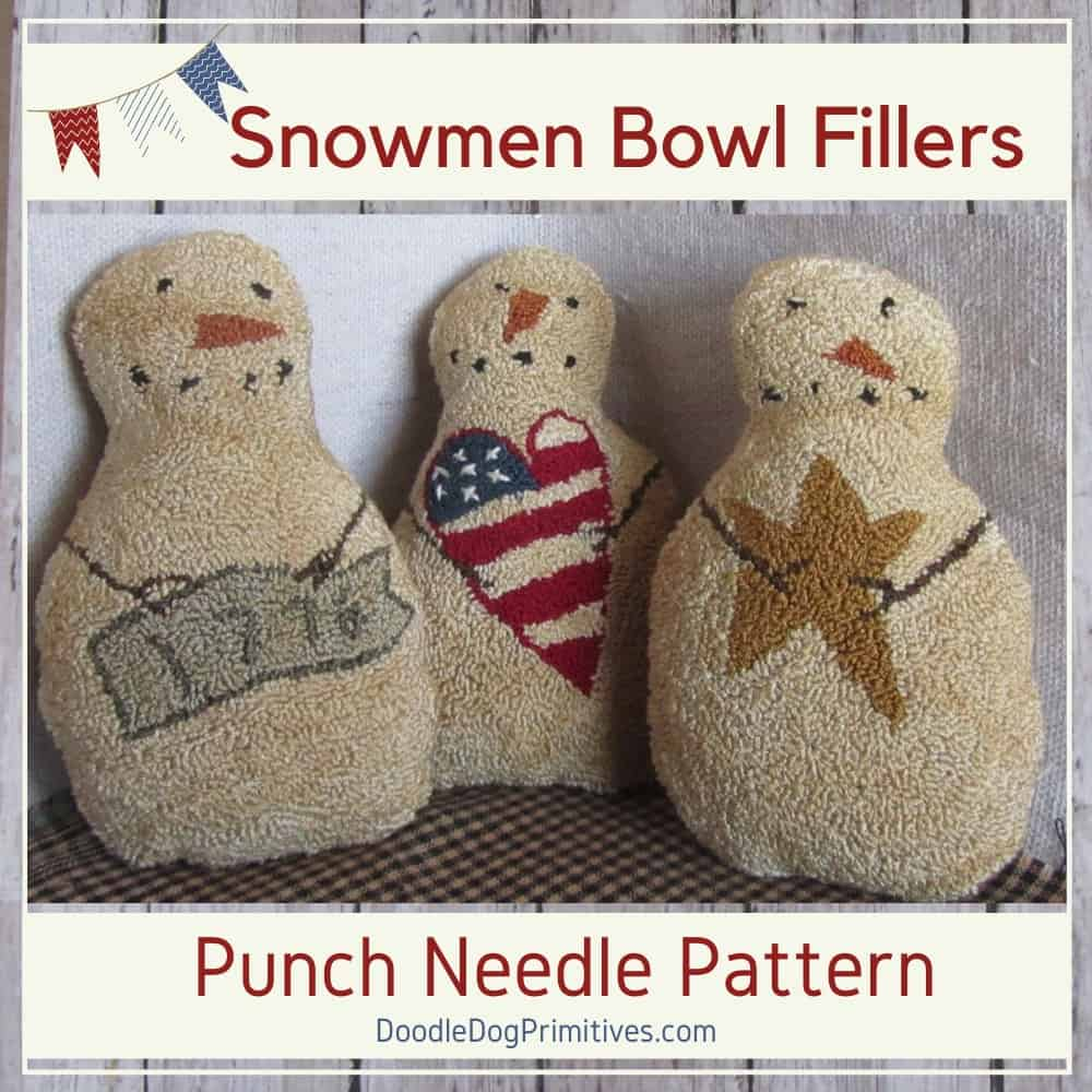 Patriotic Snowmen Punch Needle Pattern