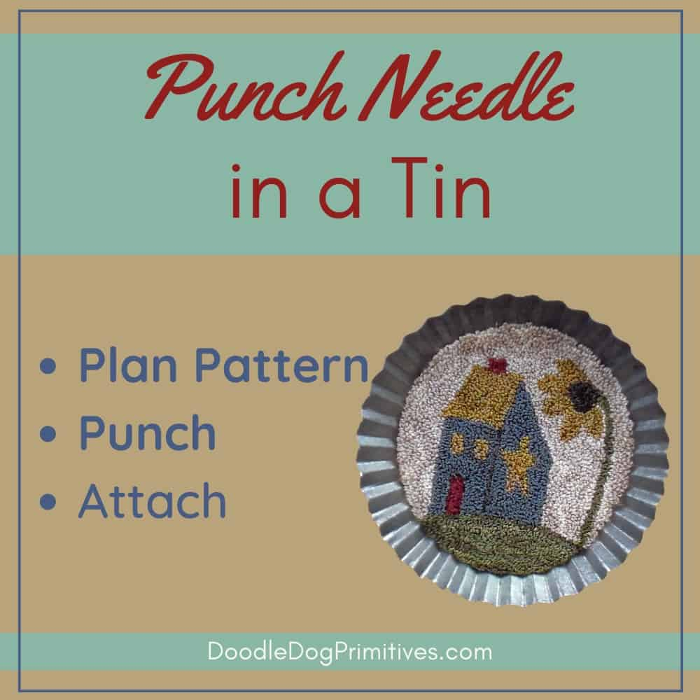 Punch Needle Project in a Tin