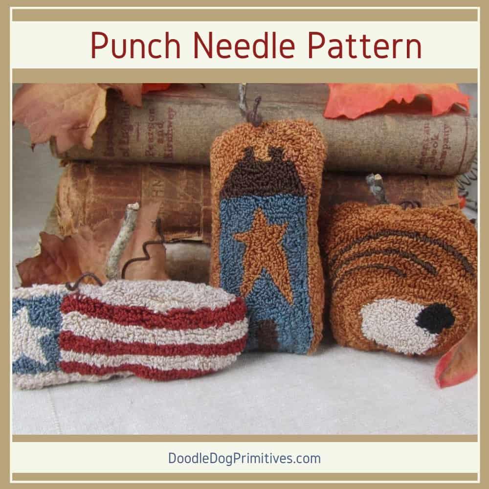 Primitive pumpkins punch needle pattern