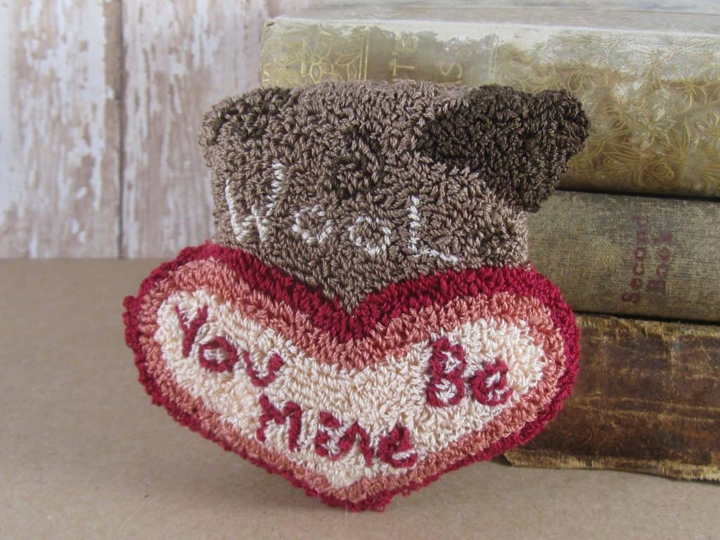 Wool You Be Mine Punch Needle Valentine Bowl Filler