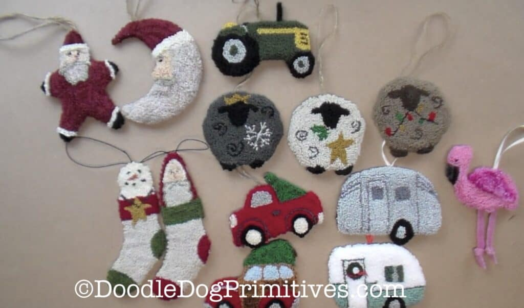 punch needle ornaments