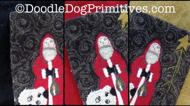 Punch Needle Santa on various colors of wool