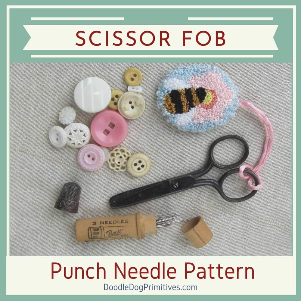 Bee Scissor Fob Punch Needle
