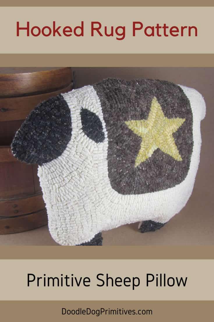 Sheep Pillow - Rug Hooking Pattern
