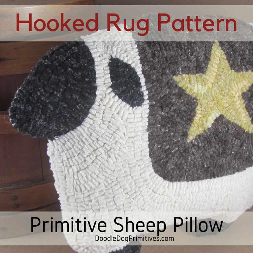 Hooked Rug Sheep pillow pattern