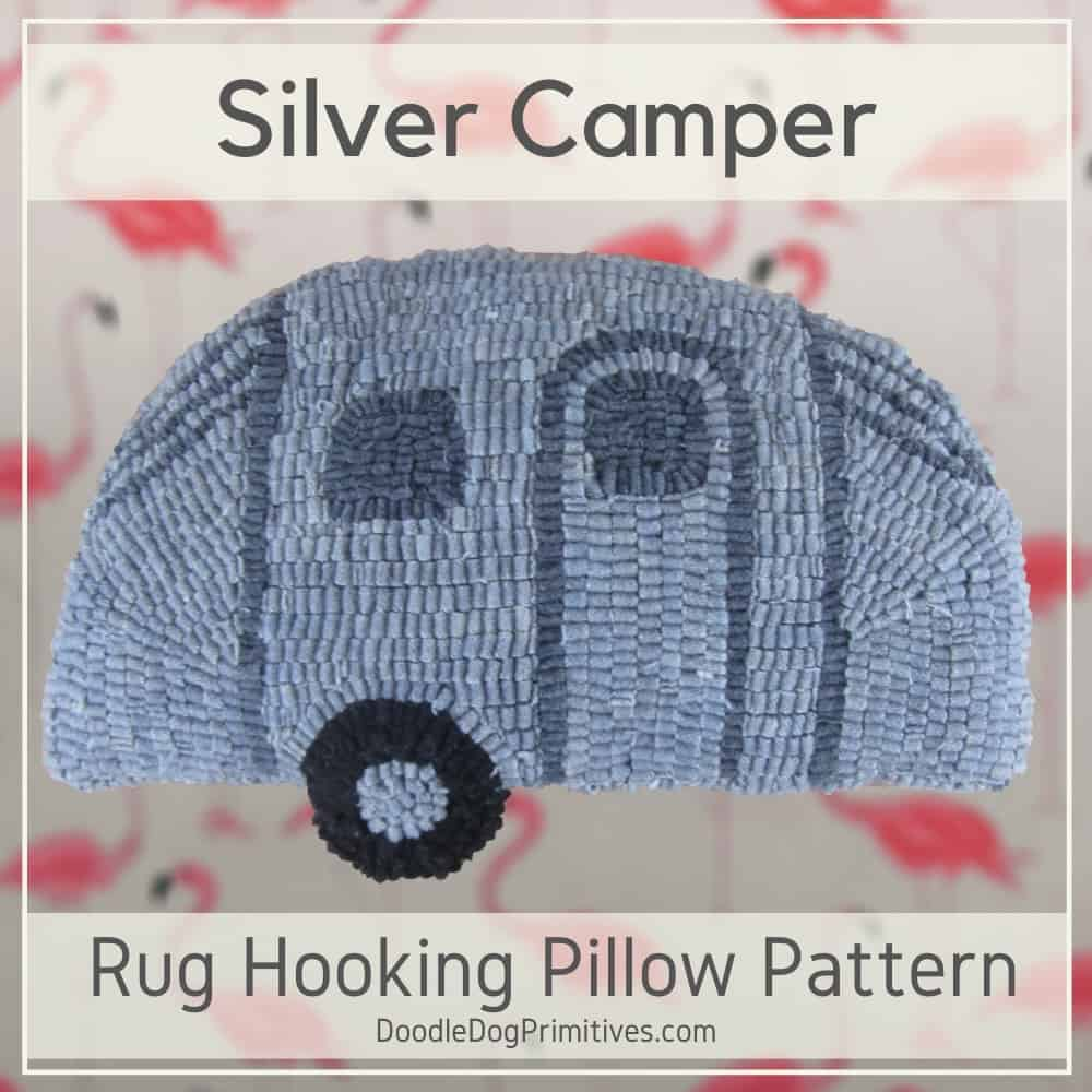 Silver Camper Hooked Rug Pillow Pattern