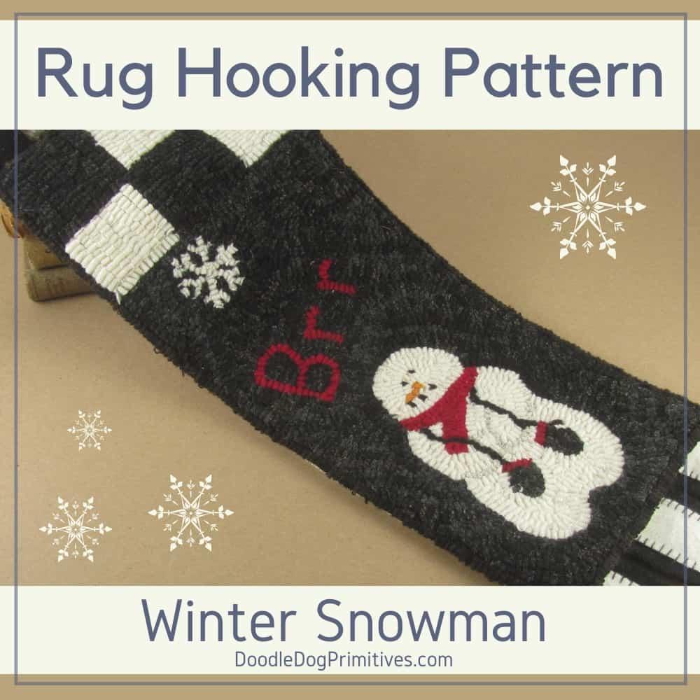 Winter Snowman Hooked Rug Pattern
