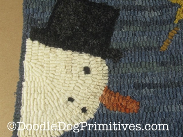 hooked rug snowman