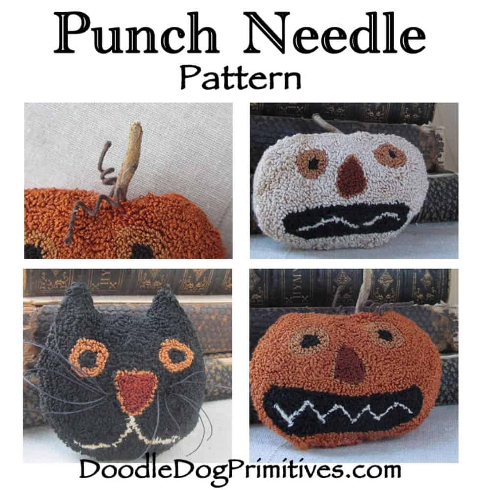 spooky trio punch needle bowl filler pattern