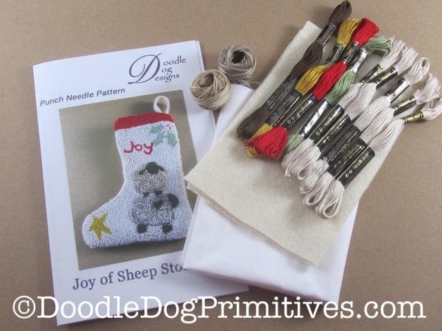 Punch needle Kit for Joy of Sheep Christmas stocking