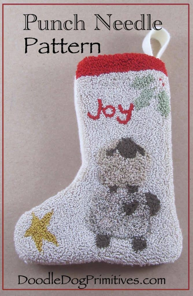 Punch needle pattern for Christmas stocking