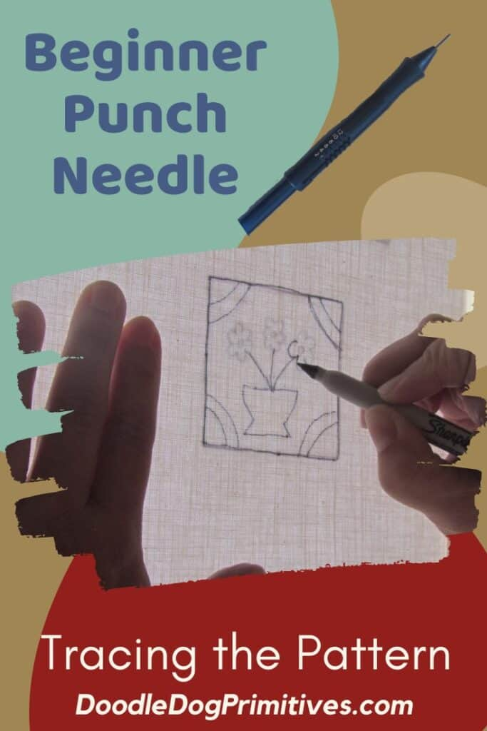 punch needle - tracing the pattern