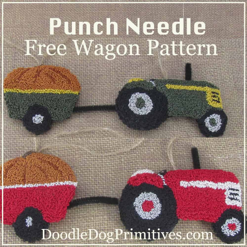 Tractor Wagon free punch needle pattern