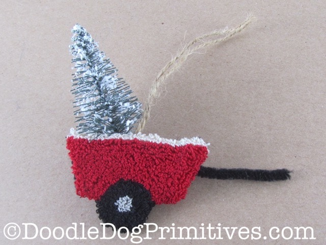 Christmas tree in punch needle tractor wagon