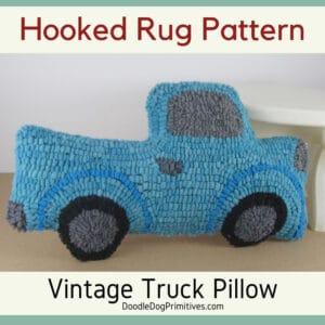 Hooked Rug Vintage Truck Pattern