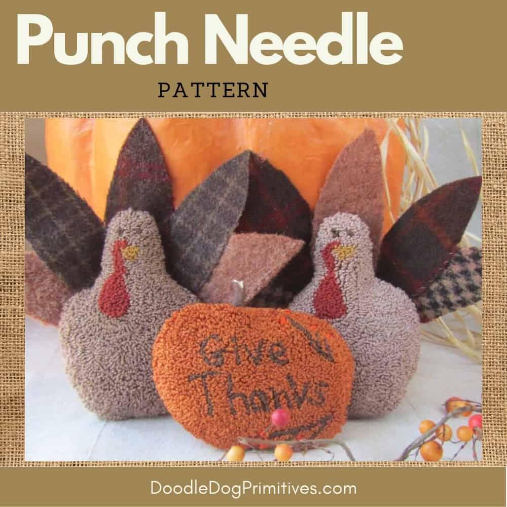Turkeys punch needle pattern