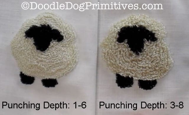Two finished contoured punched sheep