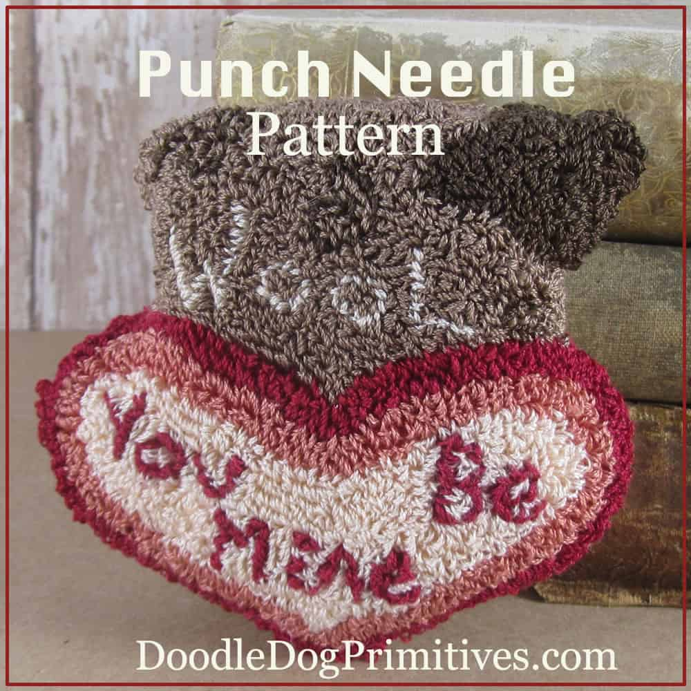 Valentine sheep punch needle bowl filler