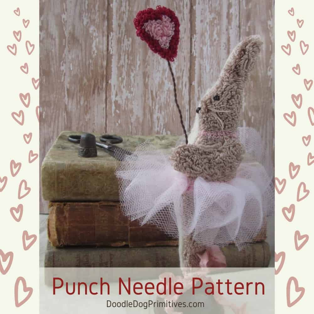 Valerie Valentine Punch Needle Bunny