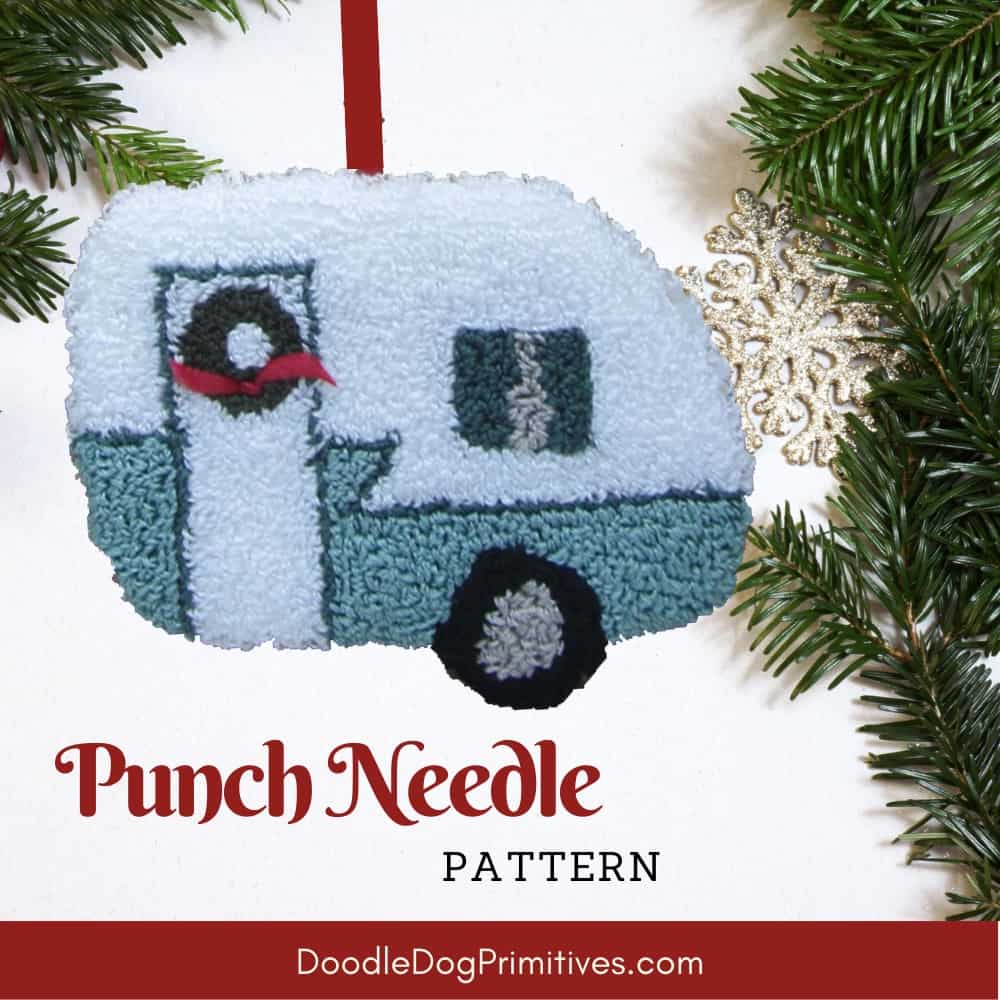 vintage camper punch needle ornament