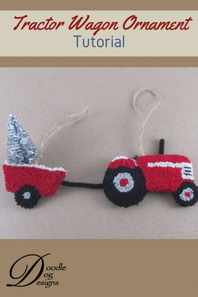 Punch needle tractor wagon ornament